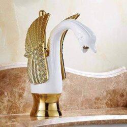 grifo lavabo cisne blanco y dorado