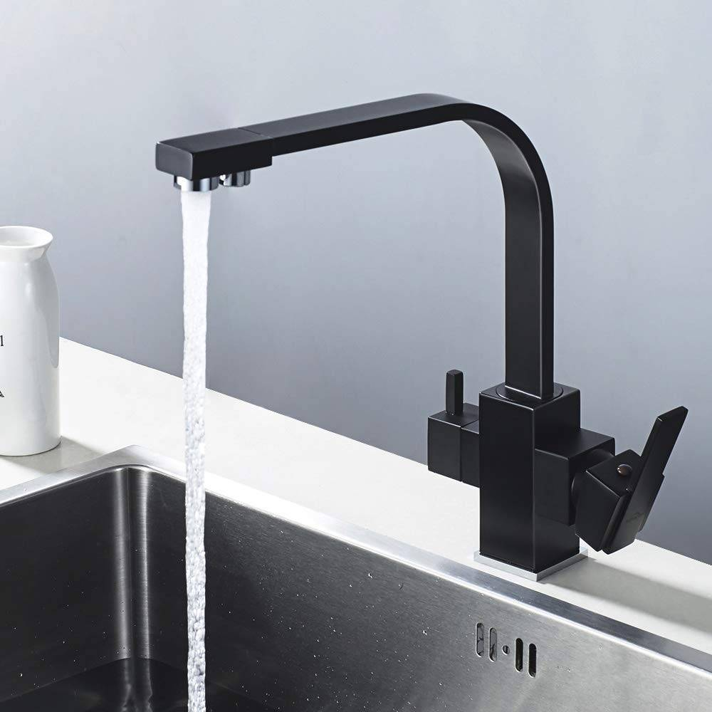 Auralum Grifo Cocina 3/V/ías Osmosis Mezclador de Cocina Separate para Agua Filtrada//Agua Fr/ía//Agua Caliente Grifos para Fregadero 360//° Giratorio Negro en Lat/ón
