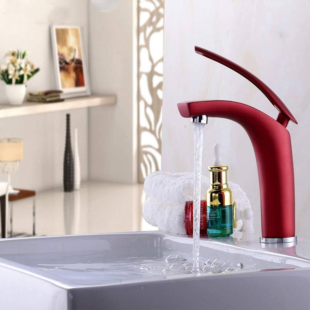 Mezclador Monomando Lacado Rojo para Baño