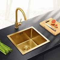 Fregadero de cocina dorado cuadrado